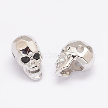 Brass Micro Pave Cubic Zirconia Beads, Skull, Lead Free & Nickel Free & Cadmium Free, Real Platinum Plated, 13x8x9.5mm, Hole: 2mm(X-ZIRC-P017-11P-NR)
