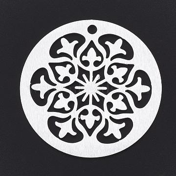 Aluminium Big Pendants, Laser Cut Big Pendants, Flat Round with Flower, Silver Color Plated, 50x1mm, Hole: 3mm(ALUM-T001-11S)