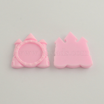Resin Castle Cabochon Settings, Pink, Tray: 25mm; 43x39x5mm(X-CRES-R136-01F)