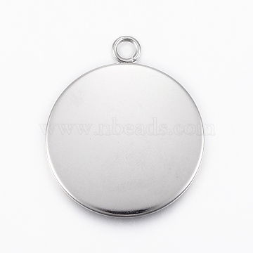 304 Stainless Steel Pendant Cabochon Settings, Flat Round, Stainless Steel Color, Tray: 25mm, 32x27x2mm, Hole: 3mm(X-STAS-E146-18P-25mm)