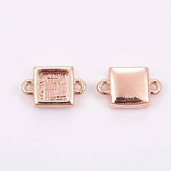 латуни кабошон параметры соединителя, чашки безель с краем, долговечный, площадь, розовое золото, лоток: 5x5 мм; 7x11x2.5 мм, отверстия: 0.8 mm(KK-F748-07RG)