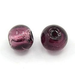 Perles de verre rondes argentées faites à la main, accessoires de bijoux, violet, environ 10 mm de diamètre, Trou: 1.5~2mm(X-SLR10MM18Y)