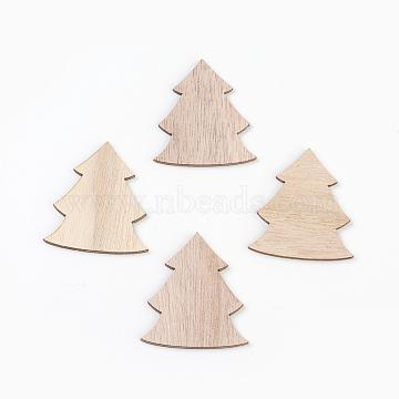 Wood Cabochons, Laser Cut Wood Shapes, Christmas Tree, BurlyWood, 50x44x2.5mm(X-WOOD-L007-07)