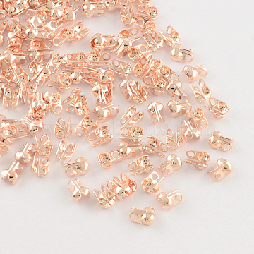 Iron Bead Tips, Calotte Ends, Cadmium Free & Lead Free, Clamshell Knot Cover, Rose Gold, 6x3.5mm, Hole: 1mm, 2.4mm inner diameter(IFIN-R199-02RG)