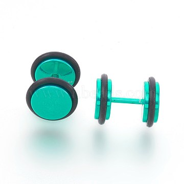 Electrophoresis 304 Stainless Steel Ear Fake Plugs Gauges, Barbell, with Rubber, Light Sea Green, 12.3mm; Pin: 1mm(EJEW-L207-N01)