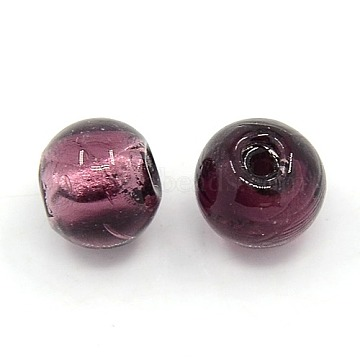10mm Purple Round Silver Foil Beads