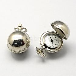 Vintage Zinc Alloy Quartz Watch Heads, for Pocket Watch Pendant Necklace Making, Platinum, 36x27x26mm, Hole: 10x1mm(WACH-R008-11)