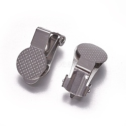 Boucles d'oreilles clips en acier inoxydable, couleur inoxydable, 15.5x10x9mm(KK-F785-03P)