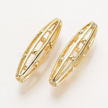 Brass Filigree Beads, Nickel Free, Real 18K Gold Plated, Hollow Rice, 25x6mm, Hole: 1mm(X-KK-Q735-200G)