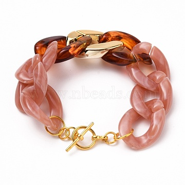 Acrylic Cuban Link Chain Bracelets, Curb Chain Bracelets, with CCB Plastic Findings and Alloy Toggle Clasps, Rosy Brown, 8 inches(20.2cm)(BJEW-JB05659-01)