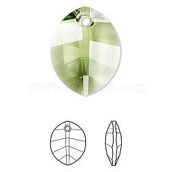 pendentif en strass cristal autrichien, 6734, passions de cristal, facettes, pur feuille, 214 _peridot, 14x10x5 mm, trou: 1 mm(X-6734-14mm-214(U))