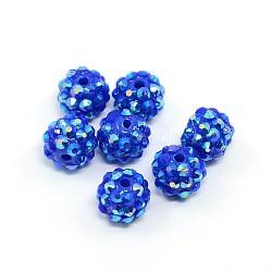 Бусины со стразами из смолы, многоцветные, круглые, синие, 12x10 мм, отверстие : 2 мм(RESI-S257-12mm-SB1)