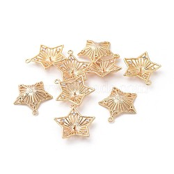 pendentifs en laiton, avec zircons, pour la moitié de perles percées, étoiles, effacer, véritable plaqué or, 20x18.5x3.5 mm, trou: 1.2 mm; broches: 0.8 mm(KK-F808-14G)