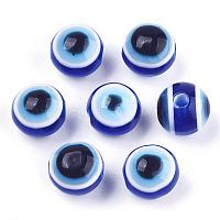 mauvaises billes de résine d'oeil, arrondir, bleu royal, 8x7 mm, trou: 1.5 mm