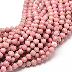 """Rhodochrosite naturelle rangées de perles rondes, 6mm, trou: 1mm; environ 58~65 pcs/chapelet, 16""""(G-G735-09-6mm)"""