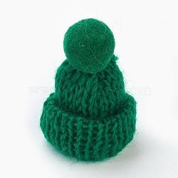 Décoration de chapeau en laine tressé manuel, diy artisanat décoration, Avec pom pom ball, darkgreen, 33~38x45~50mm(AJEW-L066-B08)