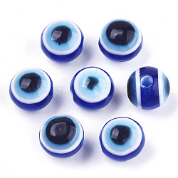 Evil Eye Resin Beads, Round, RoyalBlue, 8x7mm, Hole: 1.5mm(X-RESI-R140-8mm-01)