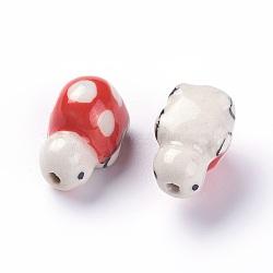 Perles de porcelaine imprimées manuelles, tortue, rouge, 11~13x18~20x11~12mm, Trou: 2mm(PORC-E015-08C)