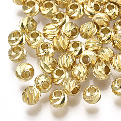 Brass Corrugated Beads, Round, Real 18K Gold Plated, 4x3.5mm, Hole: 1.4mm(X-KK-S348-250)