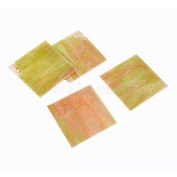 Variety Stained Glass Sheets, Large Cathedral Glass Mosaic Tiles, for Crafts, Gold, 105~110x105~110x2.5mm(GLAA-G072-01D)