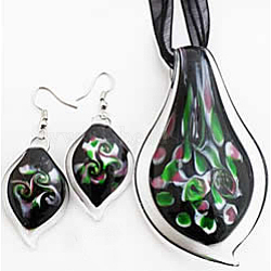 Handmade Lampwork Jewelry Sets, Earrings and Necklaces, Leaf, Black, 75x45mm(X-LAMP-C1192-3A)