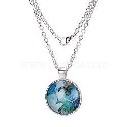 """Motif sirène pendentifs en verre plat rond, avec des chaînes d'alliage, argenterie, 18""""(X-NJEW-N0051-001W-02)"""