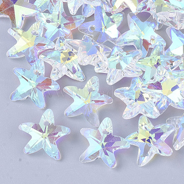 Glass Charms, Faceted, Back Plated, Starfish/Sea Stars, Crystal AB, 14x14.5x6mm, Hole: 1.5mm(X-M-GB001Y-04)