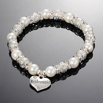 Heart Glass Pearl Round Beaded Stretch Wedding Charm Bracelets, with Tibetan Style Pendants and Brass Rhinestone Findings, White, 2-1/8 inches(5.5cm)(X-BJEW-JB01926-01)