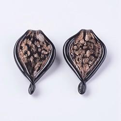 Gros pendentifs vernissées manuels, avec du sable d'or, goutte , noir, 70.5~75.5x43~44x7~11mm, Trou: 9~10mm(LAMP-J090-H01)
