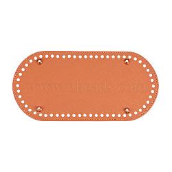 Cuir ovale bas long pour sac à tricoter, accessoires de bricolage fait main, chocolat, 25x12x1.1 cm, trou: 0.5 cm(FIND-WH0032-01B)