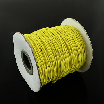 Round Elastic Cord, with Nylon Outside and Rubber Inside, Gold, 0.8mm; about 100m/roll(EC-R001-0.8mm-028A)