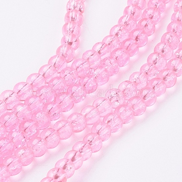 Crackle Glass Hot Pink 4mm x 200 Beads
