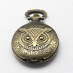 Cadrans de montres à quartz vintage alliage de zinc pour création de montre de poche collier pendentif , plat rond avec le hibou, bronze antique, 59x46x15mm, Trou: 15x5mm(WACH-R005-06)