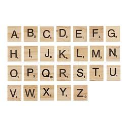 cabochons de bois, carré avec lettre, blanchedalmond, 20x18x5 mm(WOOD-TA0001-12)