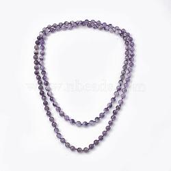 colliers à plusieurs rangs de perles d'améthyste naturelle, colliers double couche, arrondir, 47.24 48.03 cm)(NJEW-S408-06)