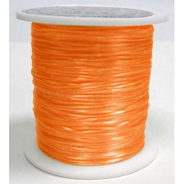 Flat Elastic Crystal String, Elastic Beading Thread, for Stretch Bracelet Making, Dyed, Orange, 0.8mm, about 65.61 yards(60m)/roll(X-EW028-1)