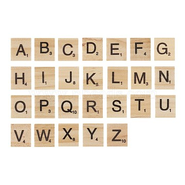 Wood Cabochons, Square with Letter, Blanched Almond, 20x18x5mm(WOOD-TA0001-12)