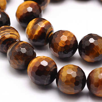 Faceted Grade A Natural Tiger Eye Round Bead Strands, 6mm, Hole: 1mm; about 62pcs/strand, 15.5 inches(G-F260-01-6mm)
