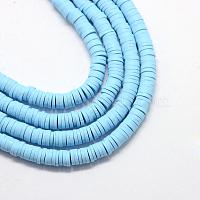 perles d'argile polymère faites à la main écologiques, disque / rond plat, perles heishi, bleu ciel clair, 6x1 mm, trou: 2 mm, environ 380~400 pcs / brin, 17.7 pouces