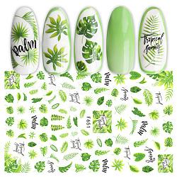 Autocollants d'ongle, auto-adhésif, autocollant, pour les décorations d'ongles, motif de feuille, verte, 123x80mm(MRMJ-Q080-F651)