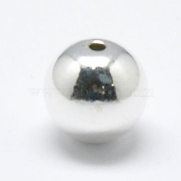 Sterling Silver Beads, Round, Silver, 6mm, Hole: 1mm(X-STER-A010-6mm-239A)