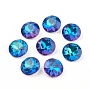 Pointed Back & Back Plated Glass Rhinestone Cabochons, Grade A, Faceted, Flat Round, Bermuda Blue, 8x4.5mm