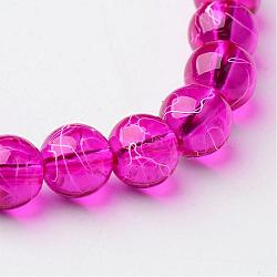 Drawbench Transparent Glass Round Beads Strands, Spray Painted, Fuchsia, 8mm, Hole: 1.3~1.6mm, about 100pcs/strand, 31.4 inches(X-GLAD-Q012-8mm-19)