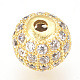 Brass Micro Pave Cubic Zirconia Beads(ZIRC-Q013-6mm-142G)-3