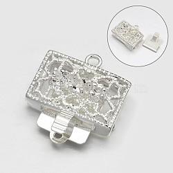 En filigrane cuboïde fermoirs de la boîte en alliage, avec les accessoires en laiton, argenterie, 20x18x7.5mm, Trou: 1mm(PALLOY-N0122-14)
