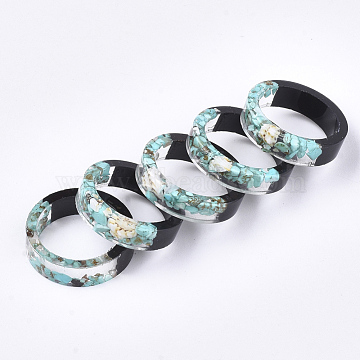 Epoxy Resin & Ebony Wood Rings, with Shell and Synthetic Turquoise, Pale Turquoise, 16mm(RJEW-S043-08A-01)