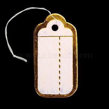 Rectangle Jewelry Display Paper Price Tags, with Cotton Cord, Golden, 26x14x0.2mm, Hole: 2mm; 500pcs/bag(CDIS-N001-32A)