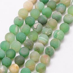 Natural Druzy Geode Agate Bead Strands, Frosted, Round, Dyed & Heated, Grade A, MediumAquamarine, 8mm, Hole: 1mm; about 47pcs/strand, 15