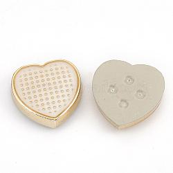 Cabochons en plastique CCB, avec l'émail, cœur, or clair, floral blanc, 12x12x3.5mm(CCB-S159-03)