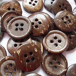 Boutons d'art en forme ronde avec 4-trou pour les enfants, bouton de noix de coco, burlywood, environ 15 mm de diamètre, environ 100 pcs / sachet (NNA0YXU)